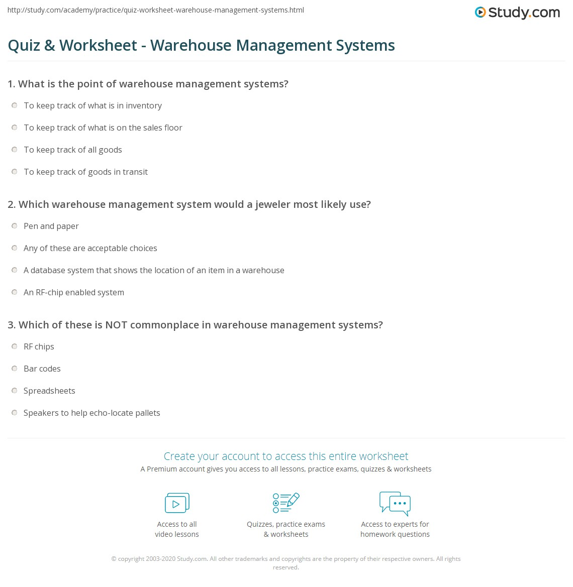 Quiz & Worksheet - Warehouse Management Systems | Study com