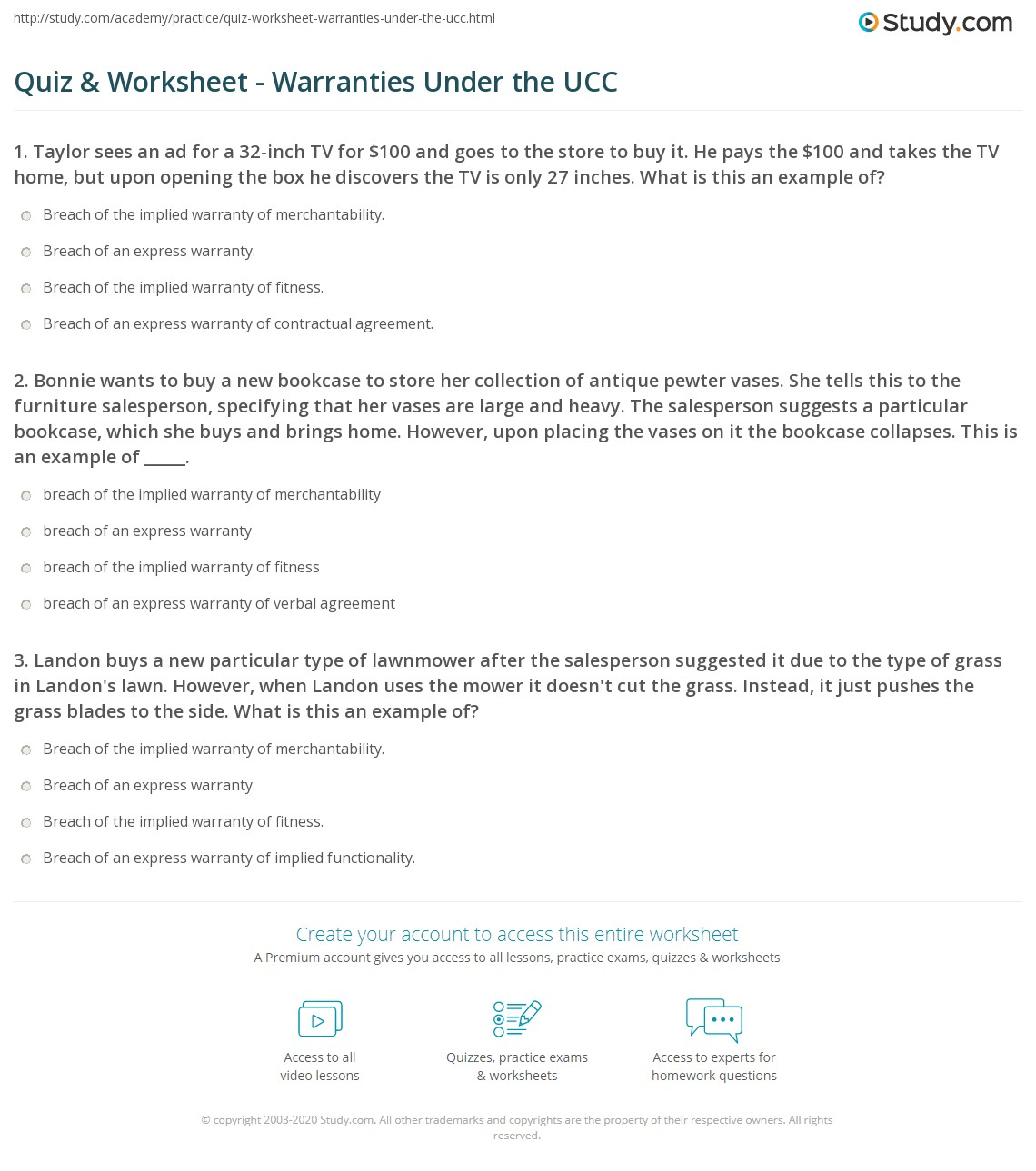 quiz worksheet warranties under the ucc. Black Bedroom Furniture Sets. Home Design Ideas