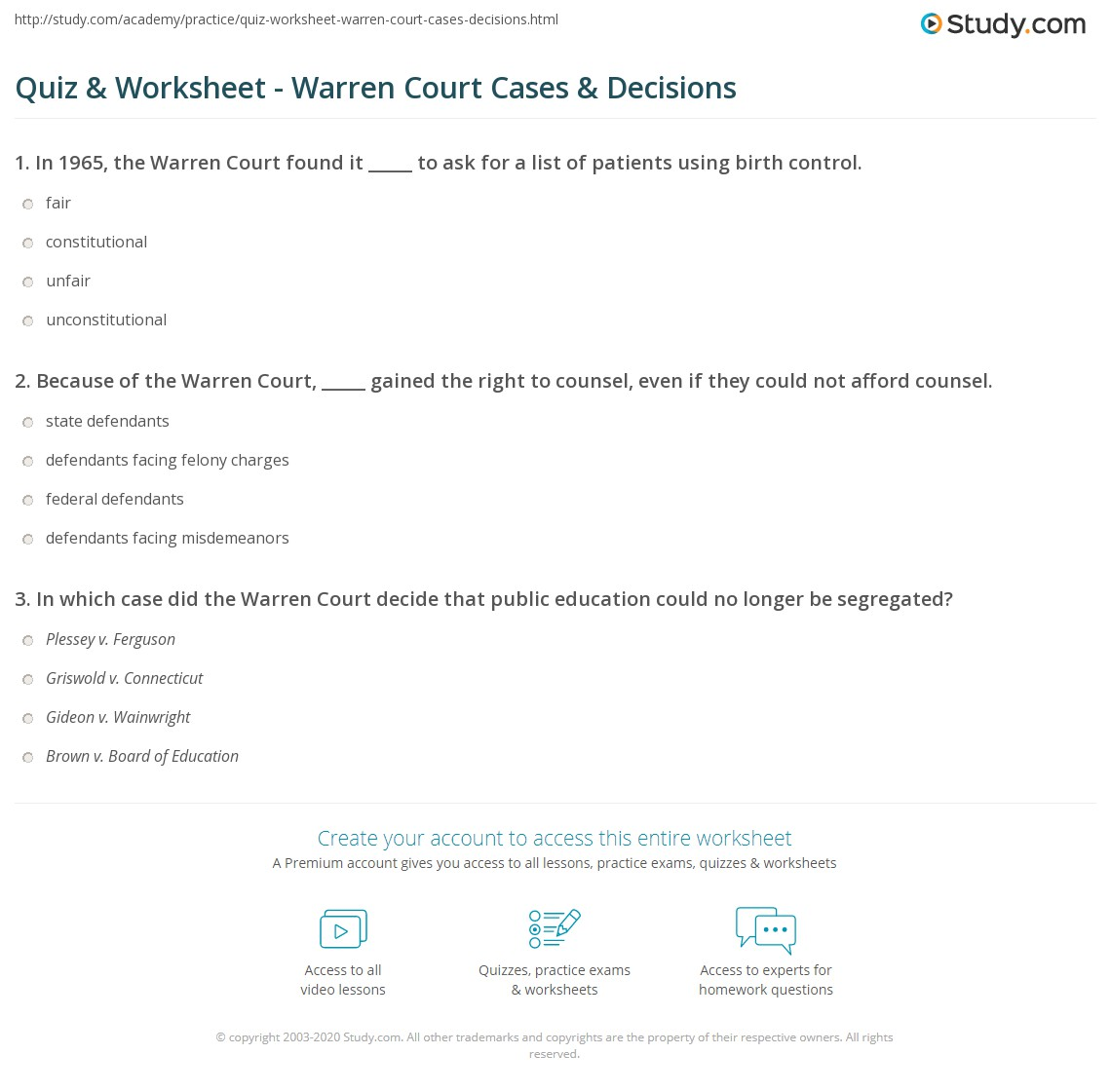 quiz worksheet warren court cases decisions. Black Bedroom Furniture Sets. Home Design Ideas