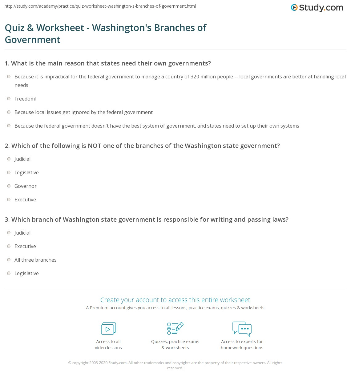 Quiz & Worksheet Washington s Branches of Government