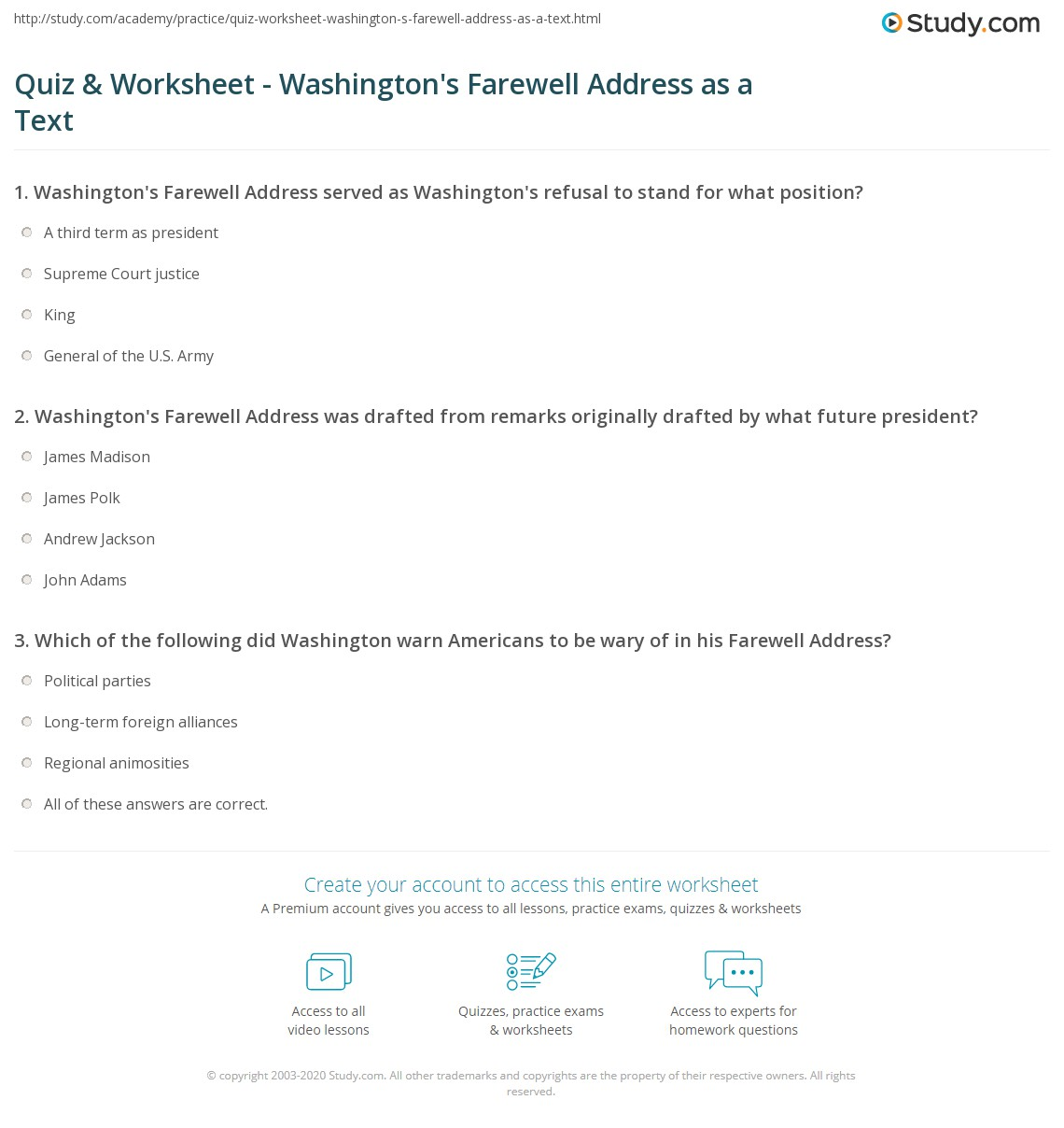 worksheet George Washington Worksheets quiz worksheet washingtons farewell address as a text study com print george summary analysis quotes worksheet
