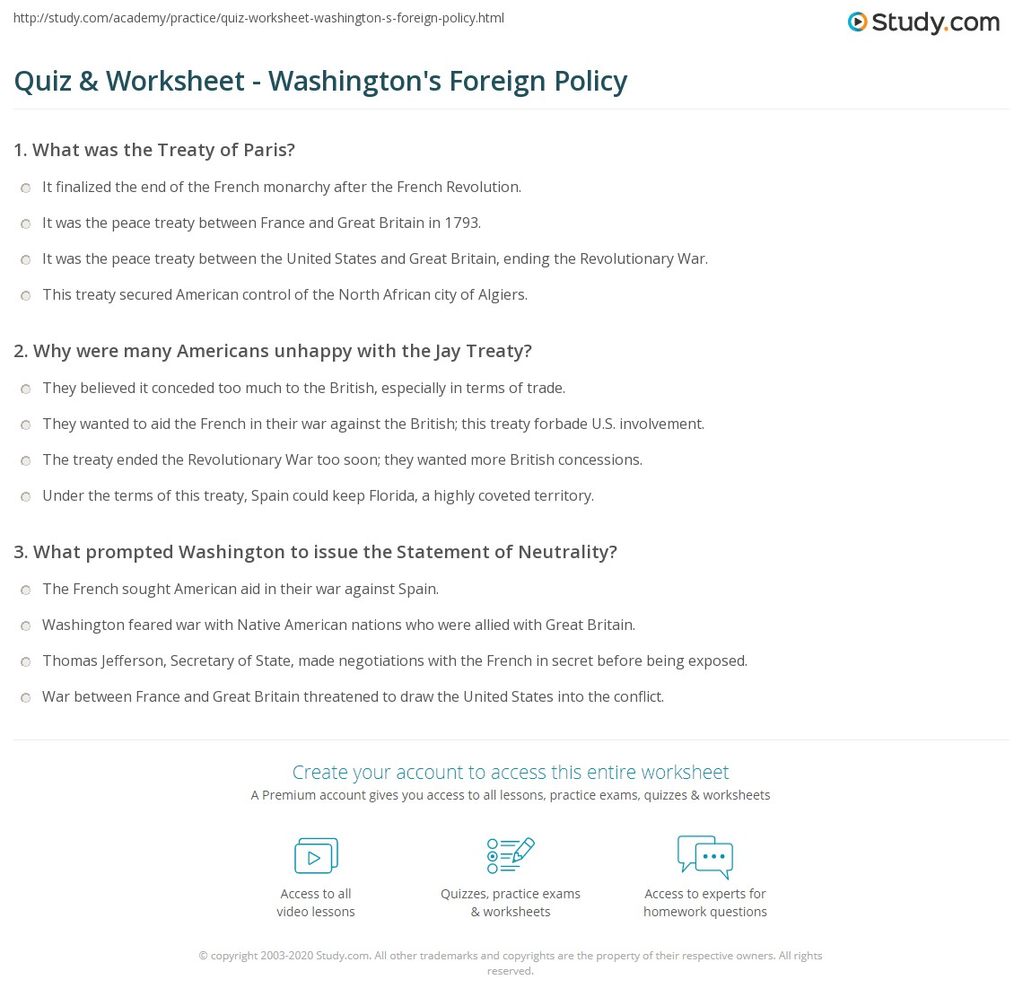 Quiz & Worksheet Washington s Foreign Policy