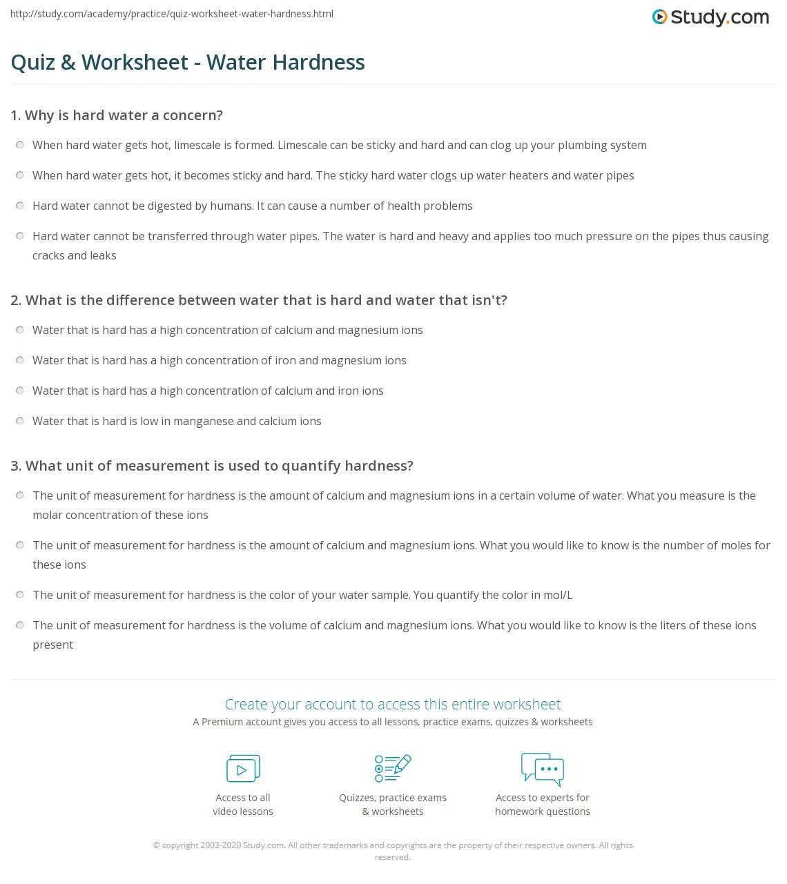 Quiz & Worksheet - Water Hardness | Study.com