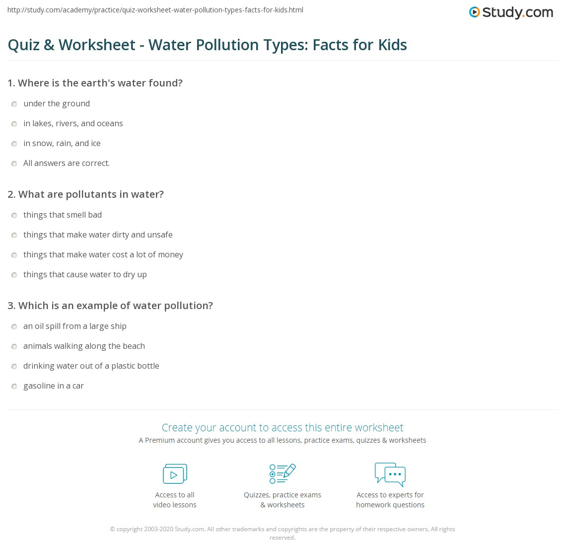 Print Types of Water Pollution: Lesson for Kids Worksheet