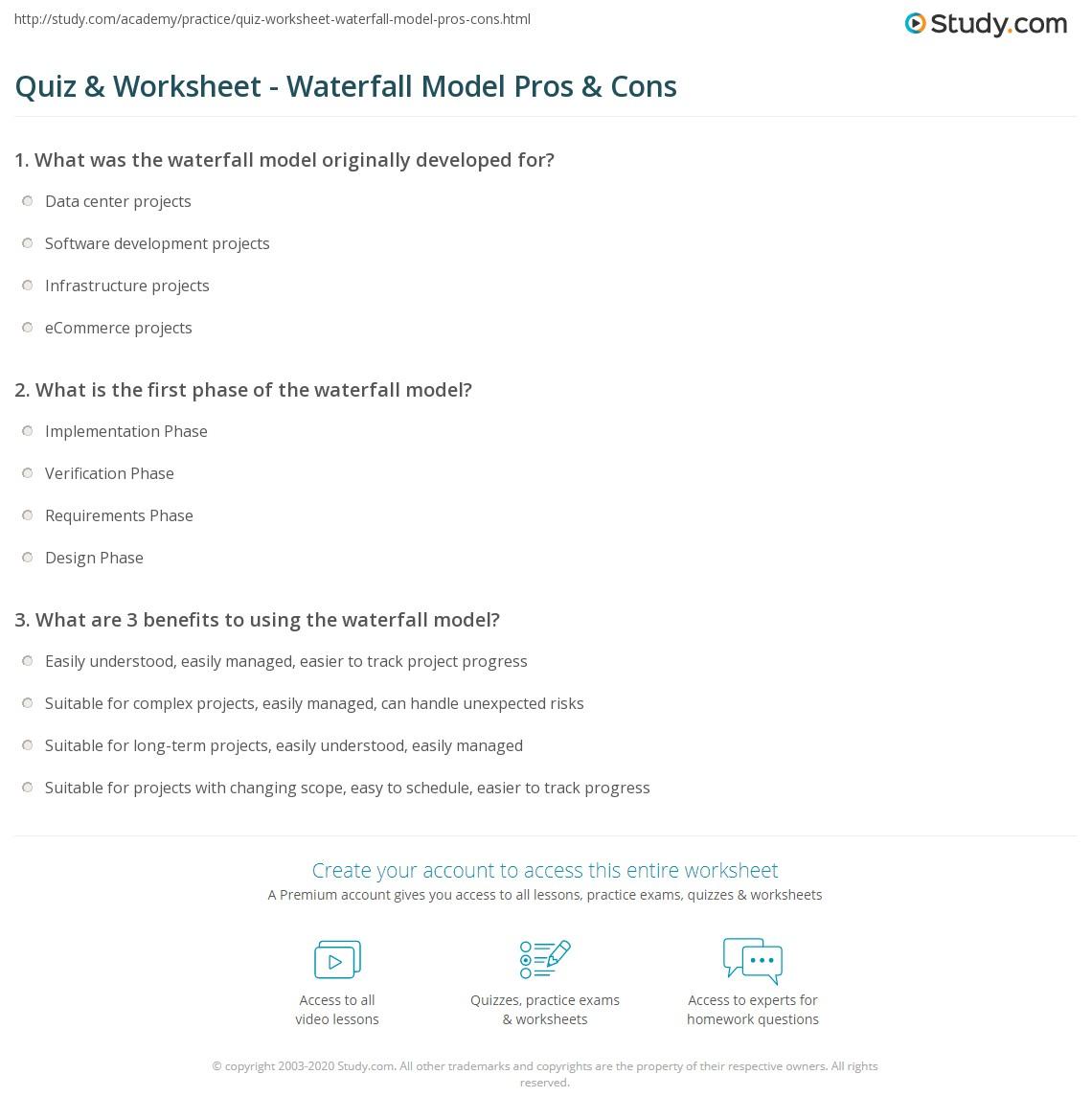 Quiz Worksheet Waterfall Model Pros Cons Study Com