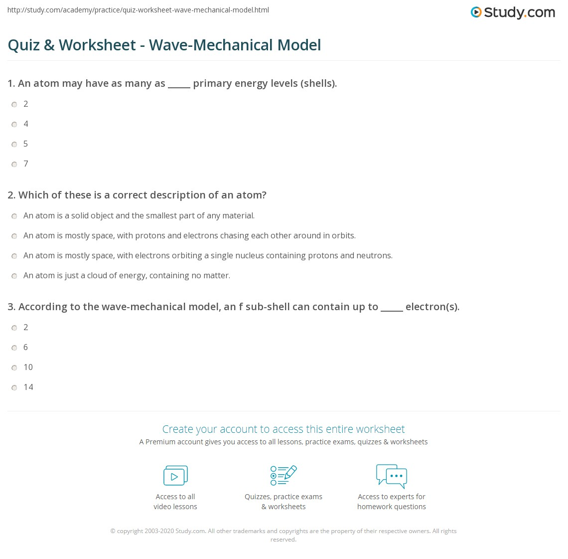 Quiz & Worksheet - Wave-Mechanical Model | Study.com
