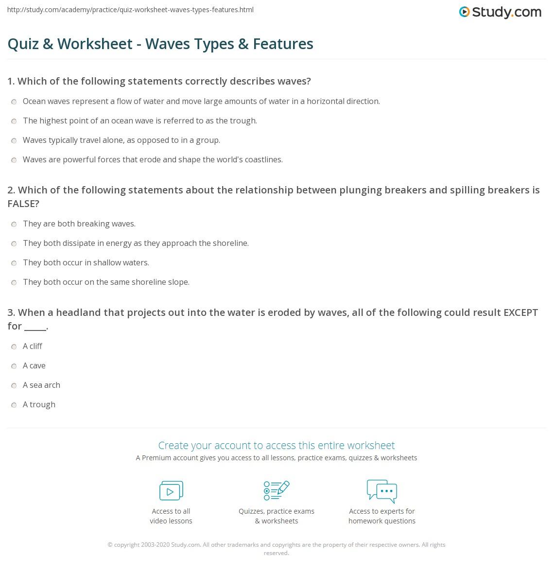 quiz worksheet waves types features. Black Bedroom Furniture Sets. Home Design Ideas