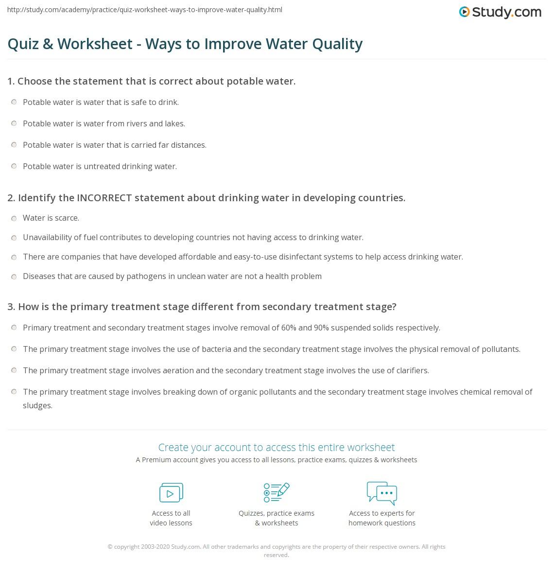 Quiz & Worksheet - Ways to Improve Water Quality | Study.com