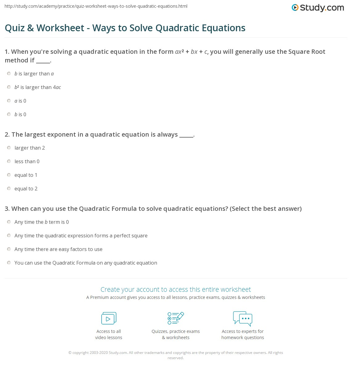 Quadratic Equation Practice With Answers Graphing Quadratic