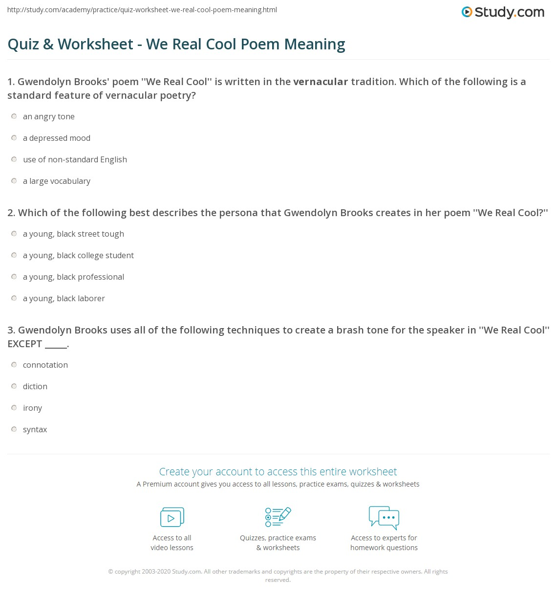 quiz worksheet we real cool poem meaning. Black Bedroom Furniture Sets. Home Design Ideas