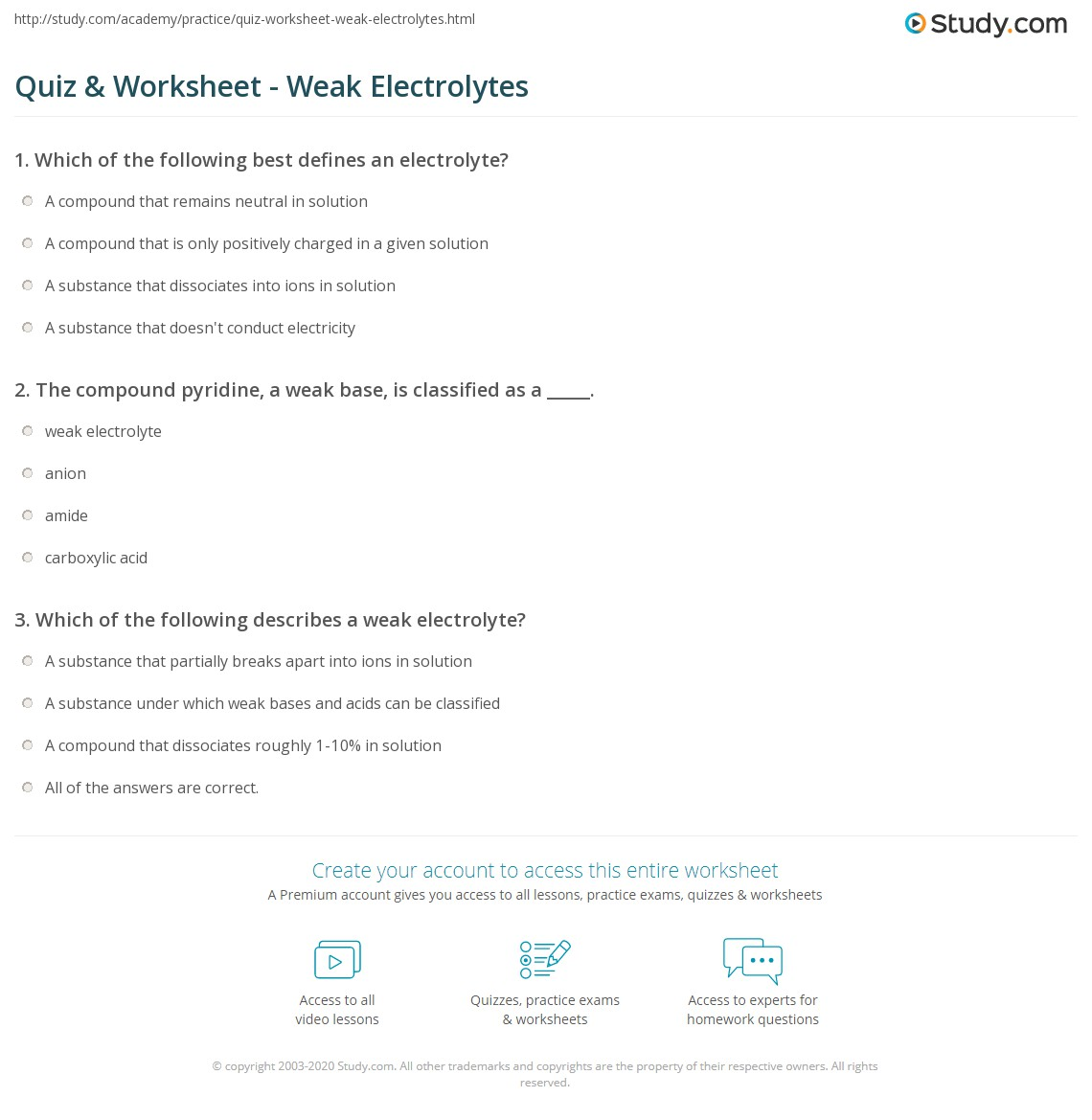 Quiz Worksheet Weak Electrolytes Study