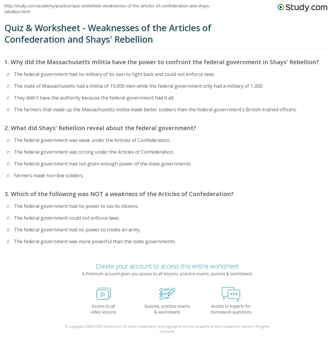 quiz worksheet weaknesses of the articles of confederation and shays 39 rebellion. Black Bedroom Furniture Sets. Home Design Ideas