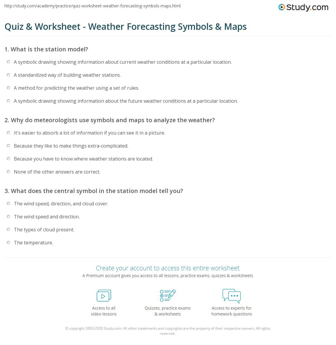 Quiz Worksheet Weather Forecasting Symbols Maps Study