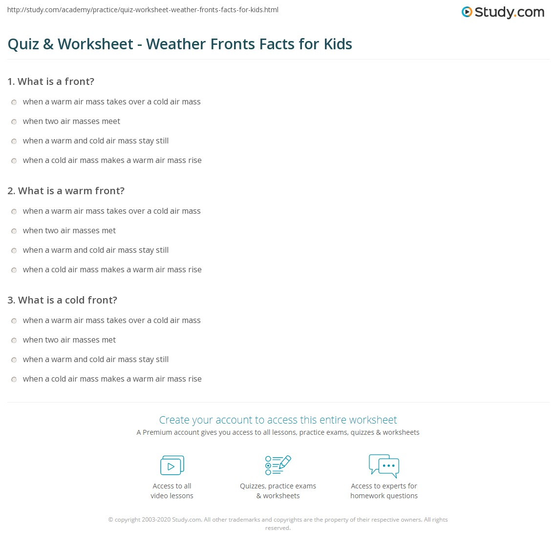 Quiz Worksheet Weather Fronts Facts For Kids Study