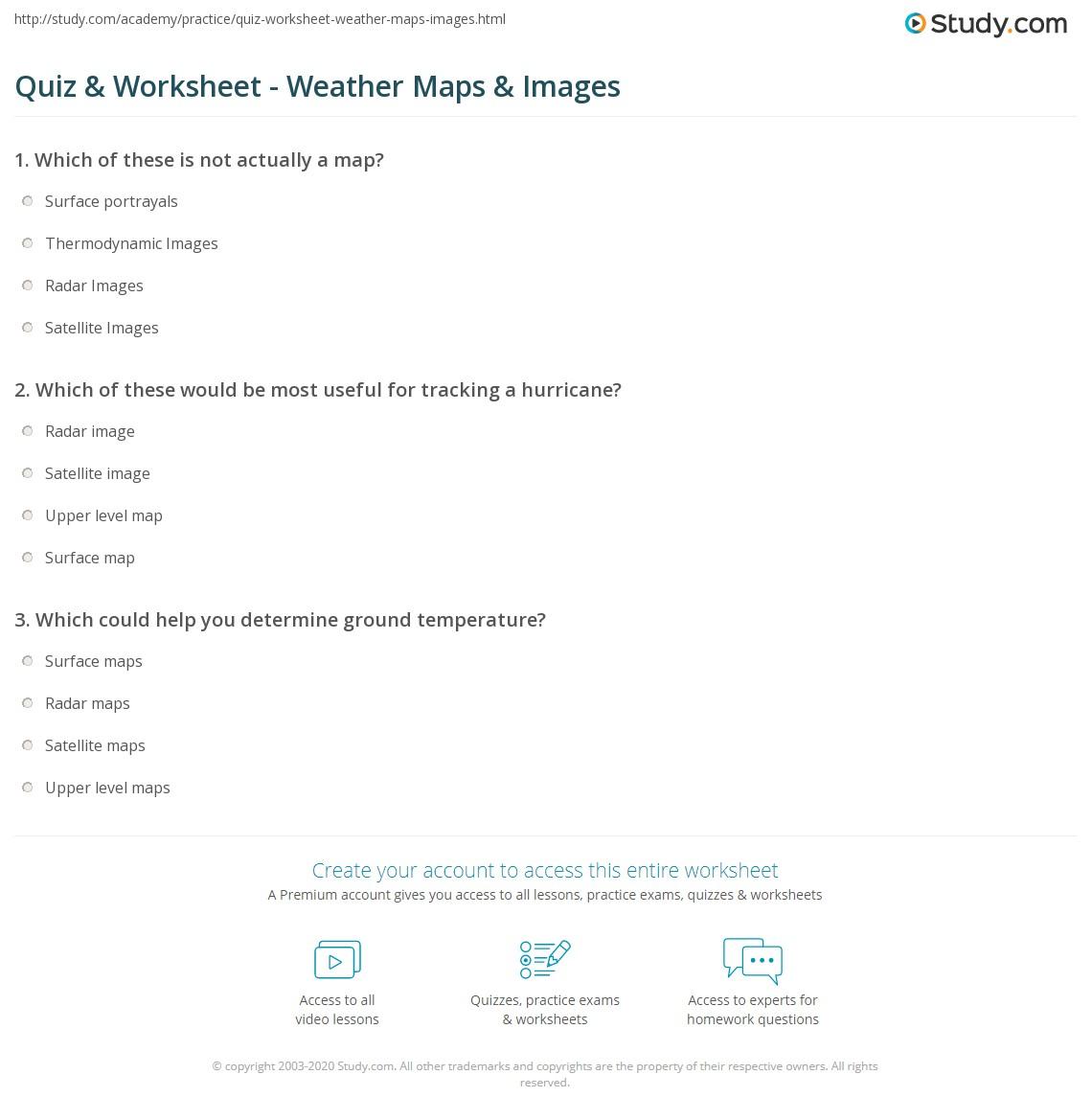 Worksheets Weather Map Worksheet quiz worksheet weather maps images study com print types of worksheet
