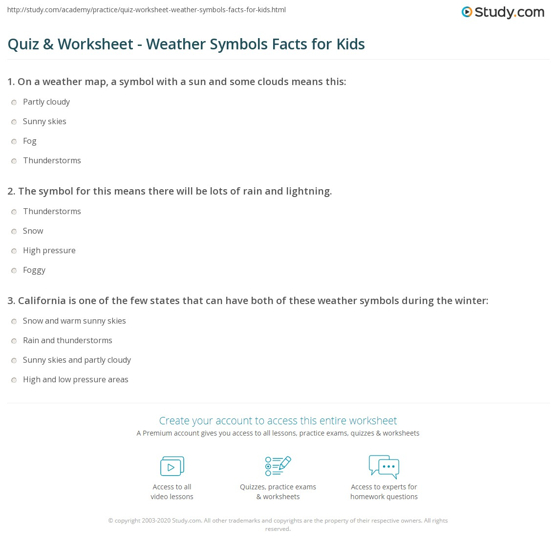 Quiz Worksheet Weather Symbols Facts For Kids Study