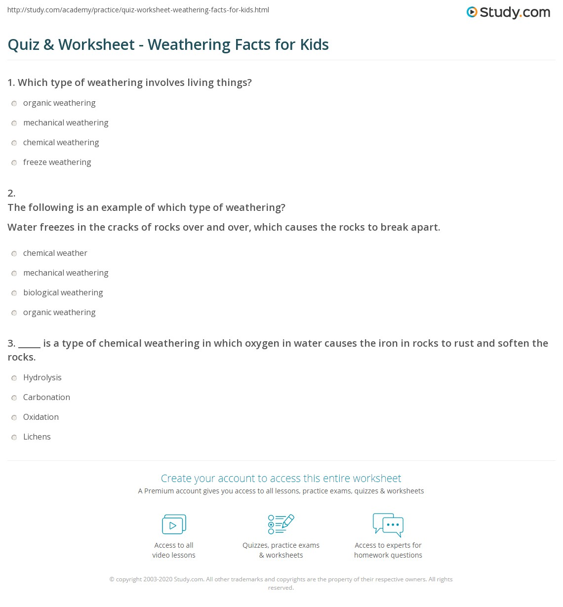 Quiz Worksheet Weathering Facts For Kids Study Com