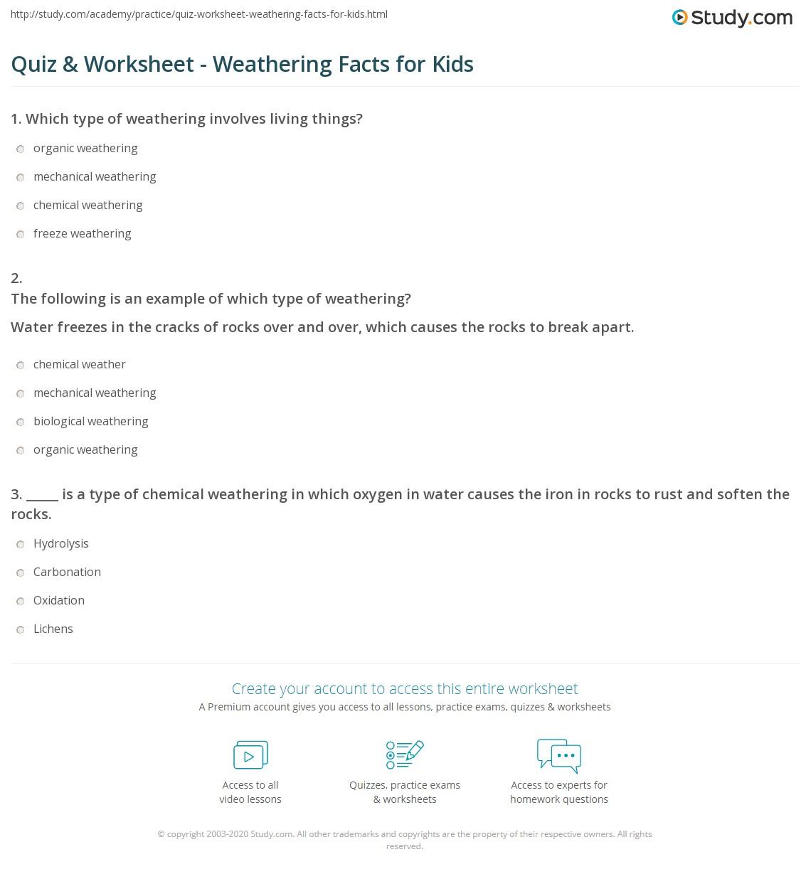 Quiz & Worksheet - Weathering Facts for Kids   Study.com