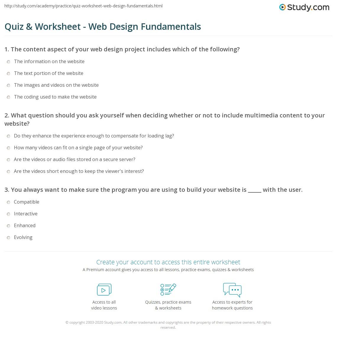Quiz & Worksheet - Web Design Fundamentals | Study.com