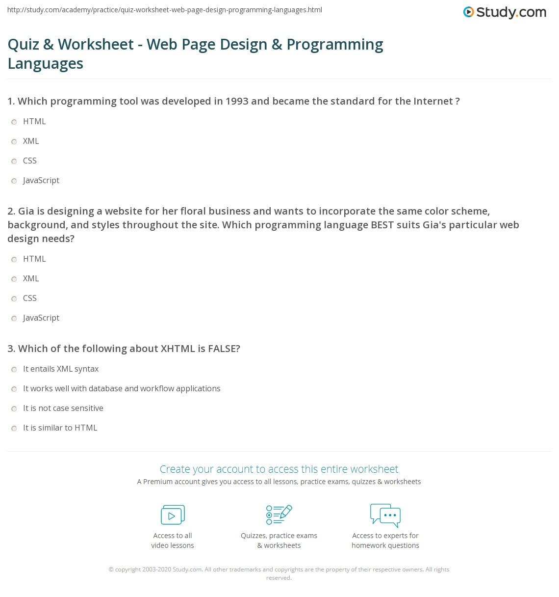 Quiz & Worksheet - Web Page Design & Programming Languages