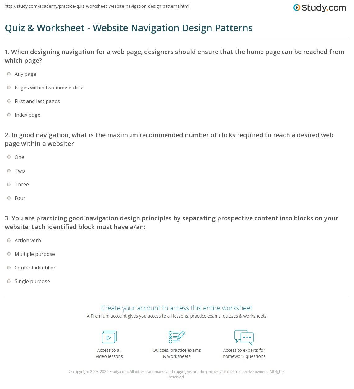 Quiz & Worksheet - Website Navigation Design Patterns ...
