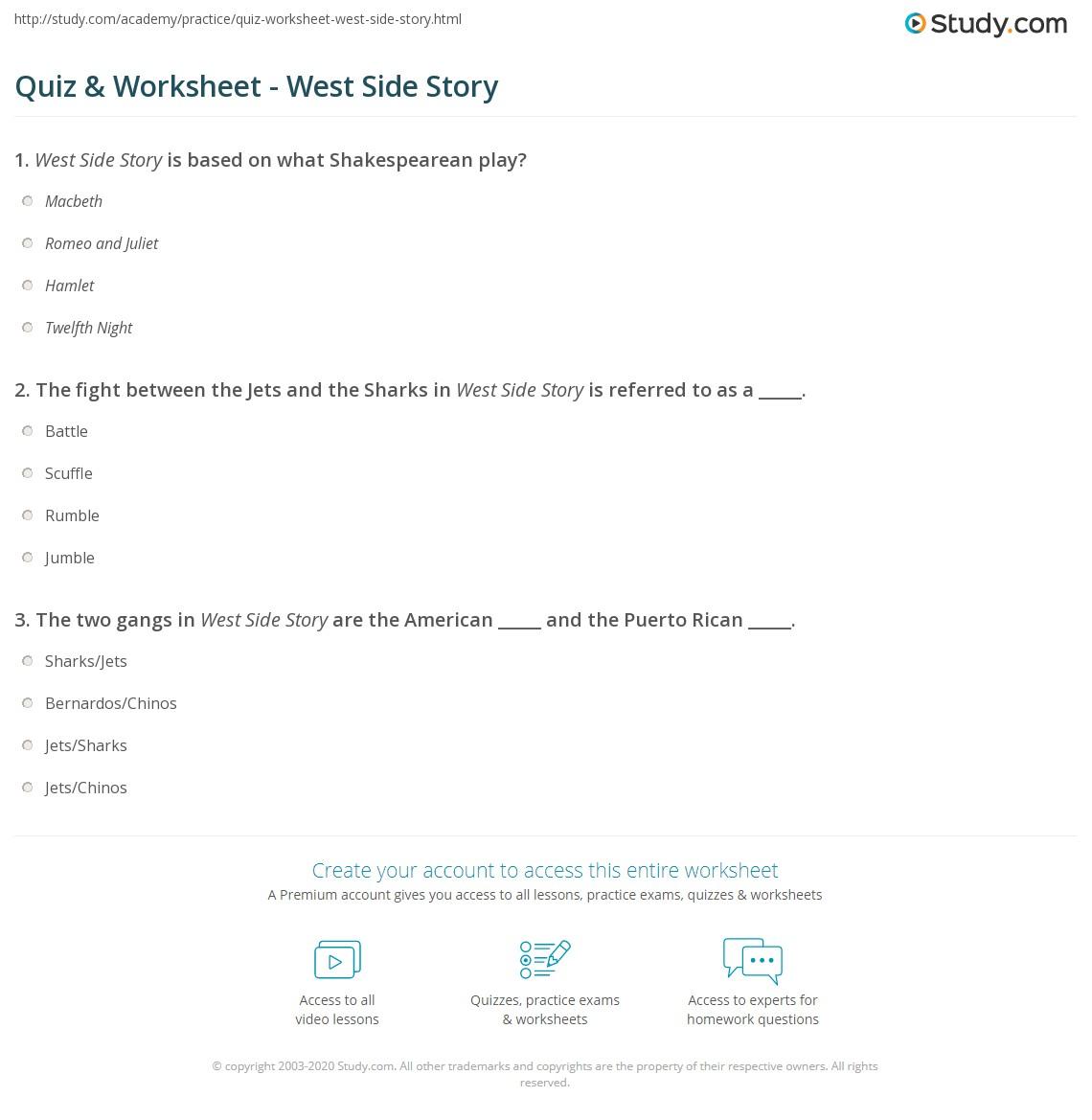 worksheet West Side Story Worksheet quiz worksheet west side story study com print summary songs characters composer worksheet