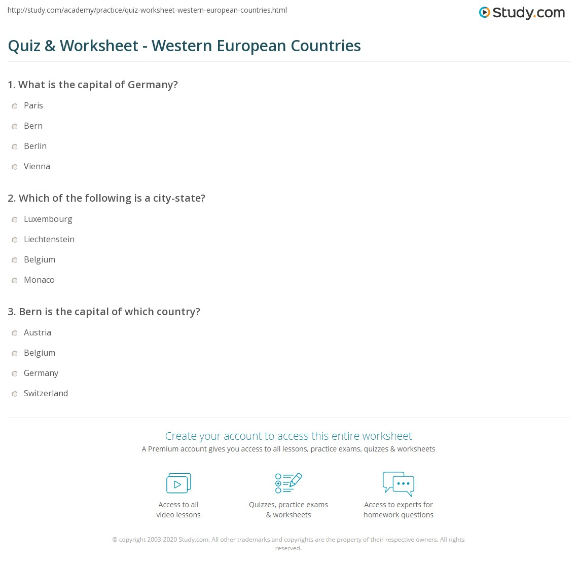 Quiz Worksheet Western European Countries Studycom - Countries in europe and their capitals