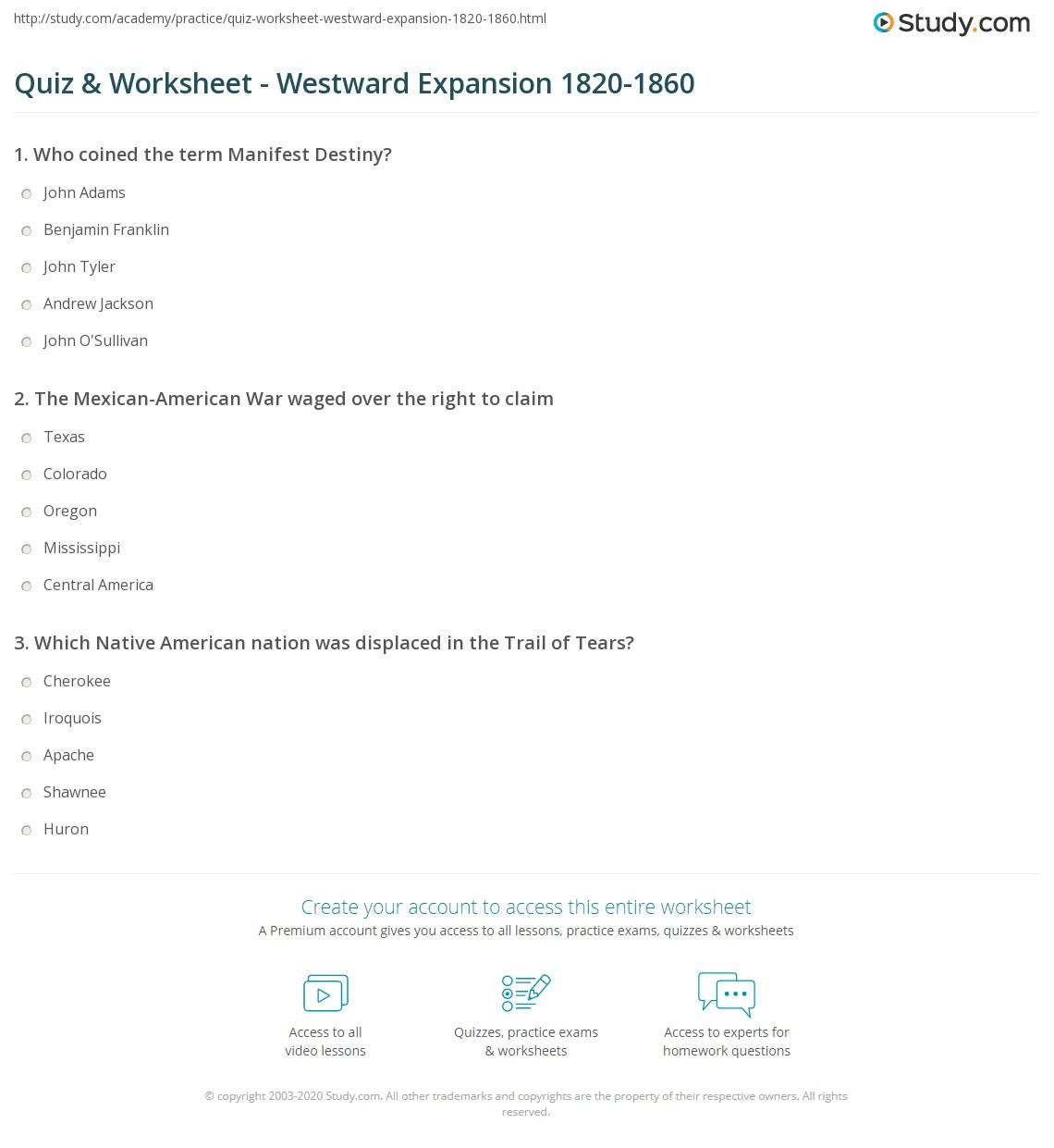 worksheet America The Story Of Us Westward Worksheet quiz worksheet westward expansion 1820 1860 study com print u s worksheet