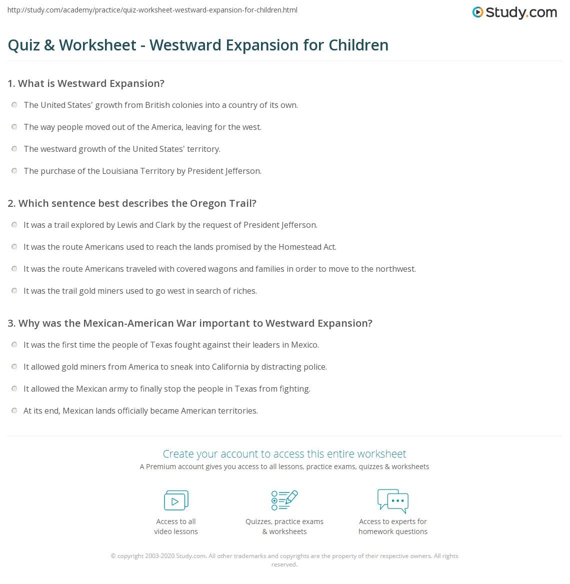 worksheet Oregon Child Support Worksheet quiz worksheet westward expansion for children study com print kids definition timeline worksheet