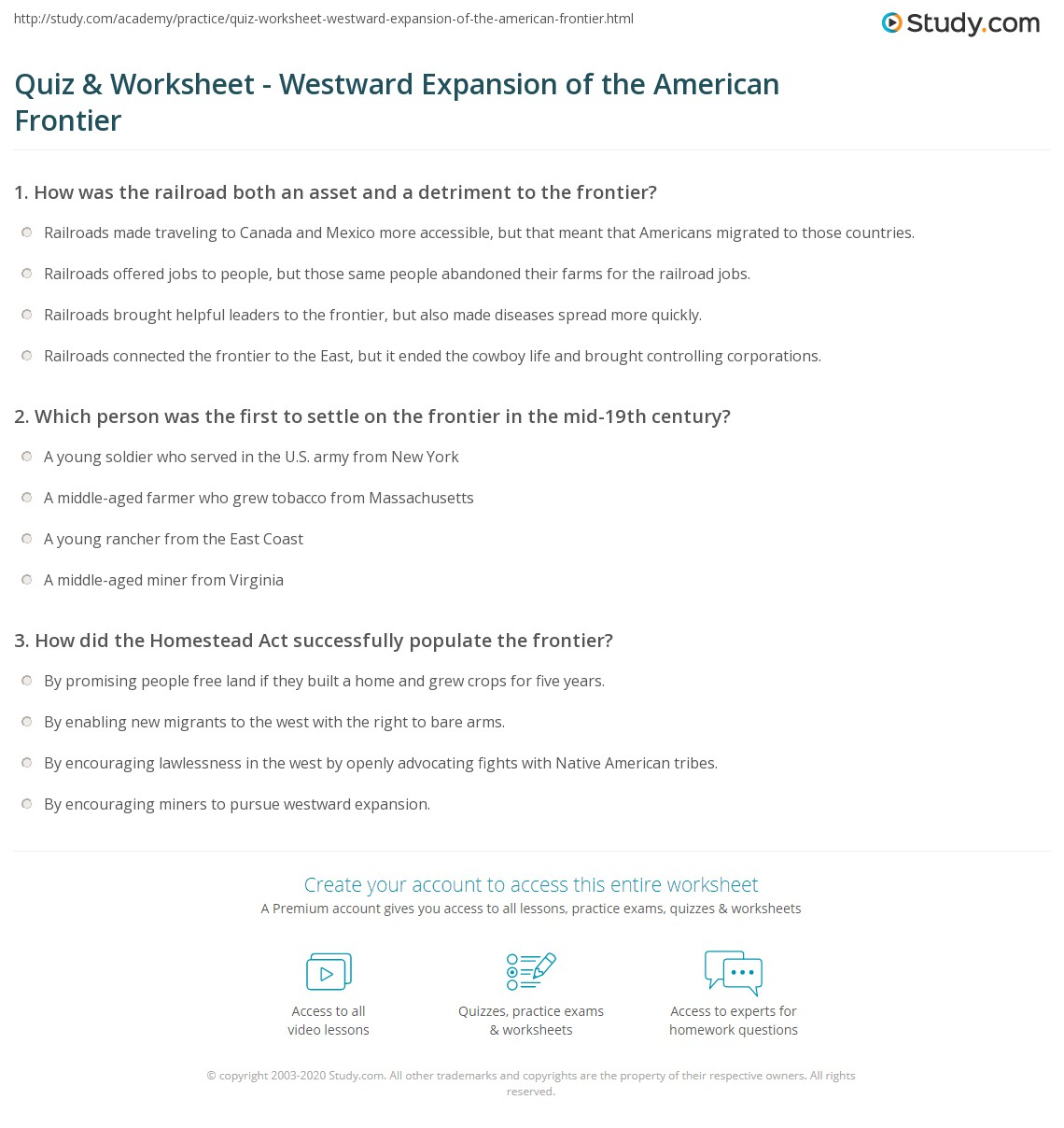quiz worksheet westward expansion of the american frontier. Black Bedroom Furniture Sets. Home Design Ideas