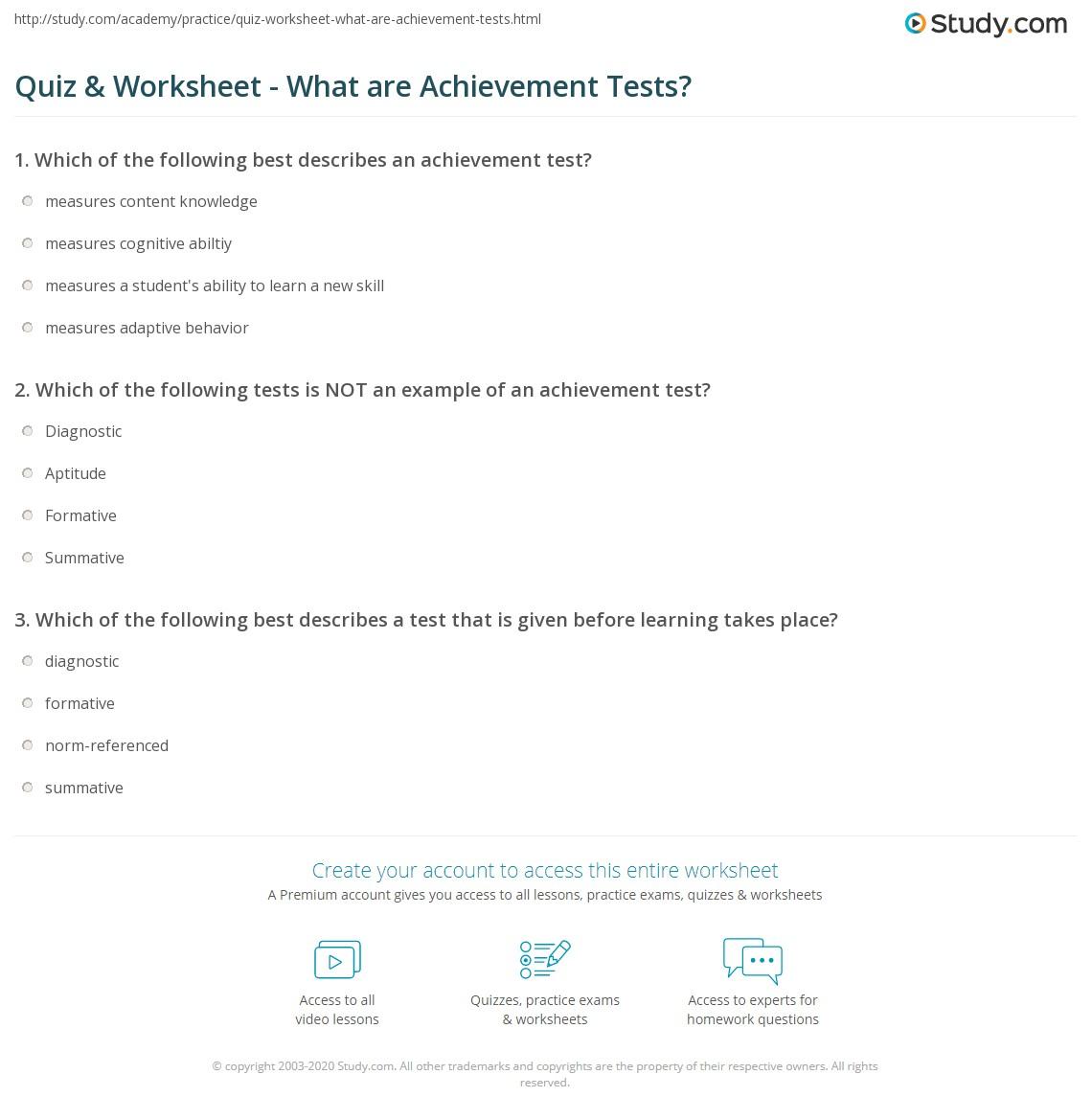 Quiz Worksheet What Are Achievement Tests Study