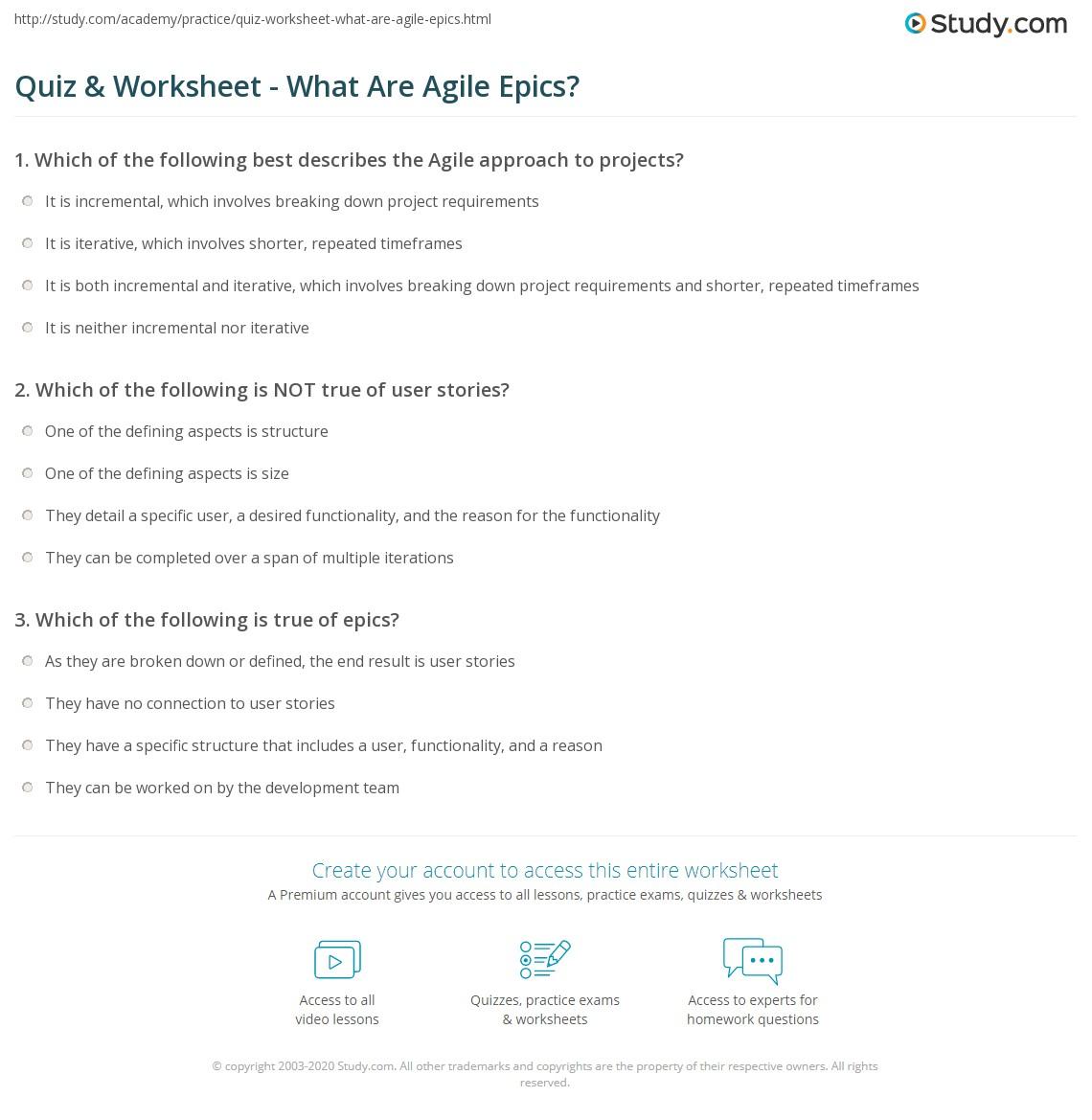 Quiz Worksheet What Are Agile Epics Study