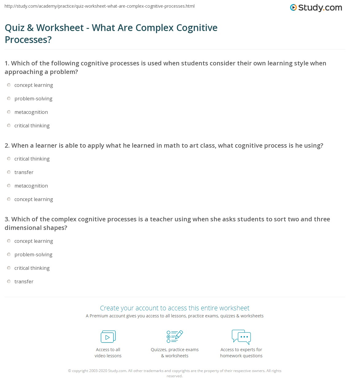 quiz & worksheet - what are complex cognitive processes? | study