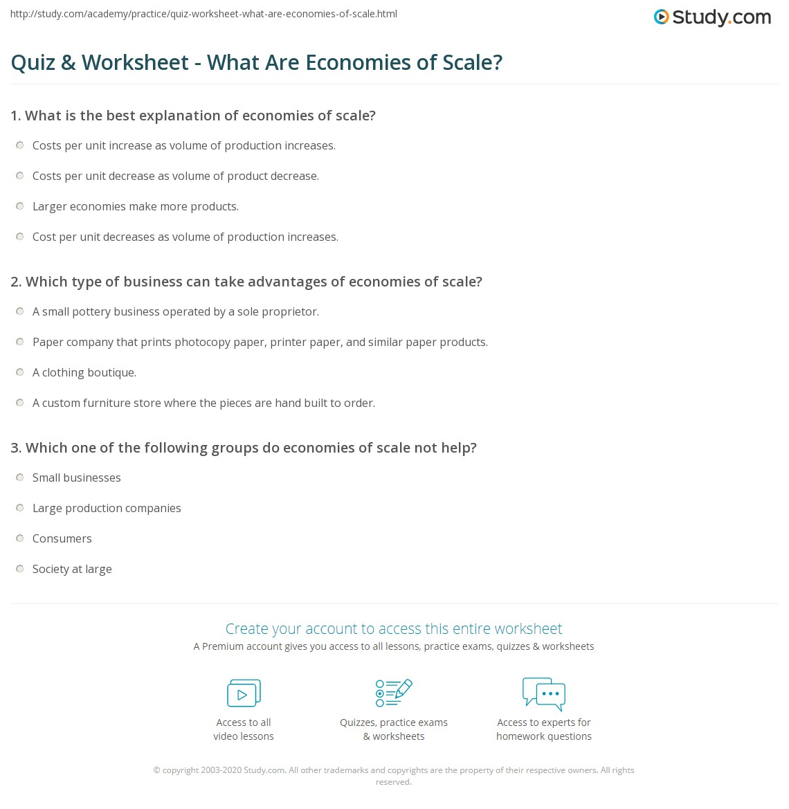 quiz & worksheet - what are economies of scale? | study