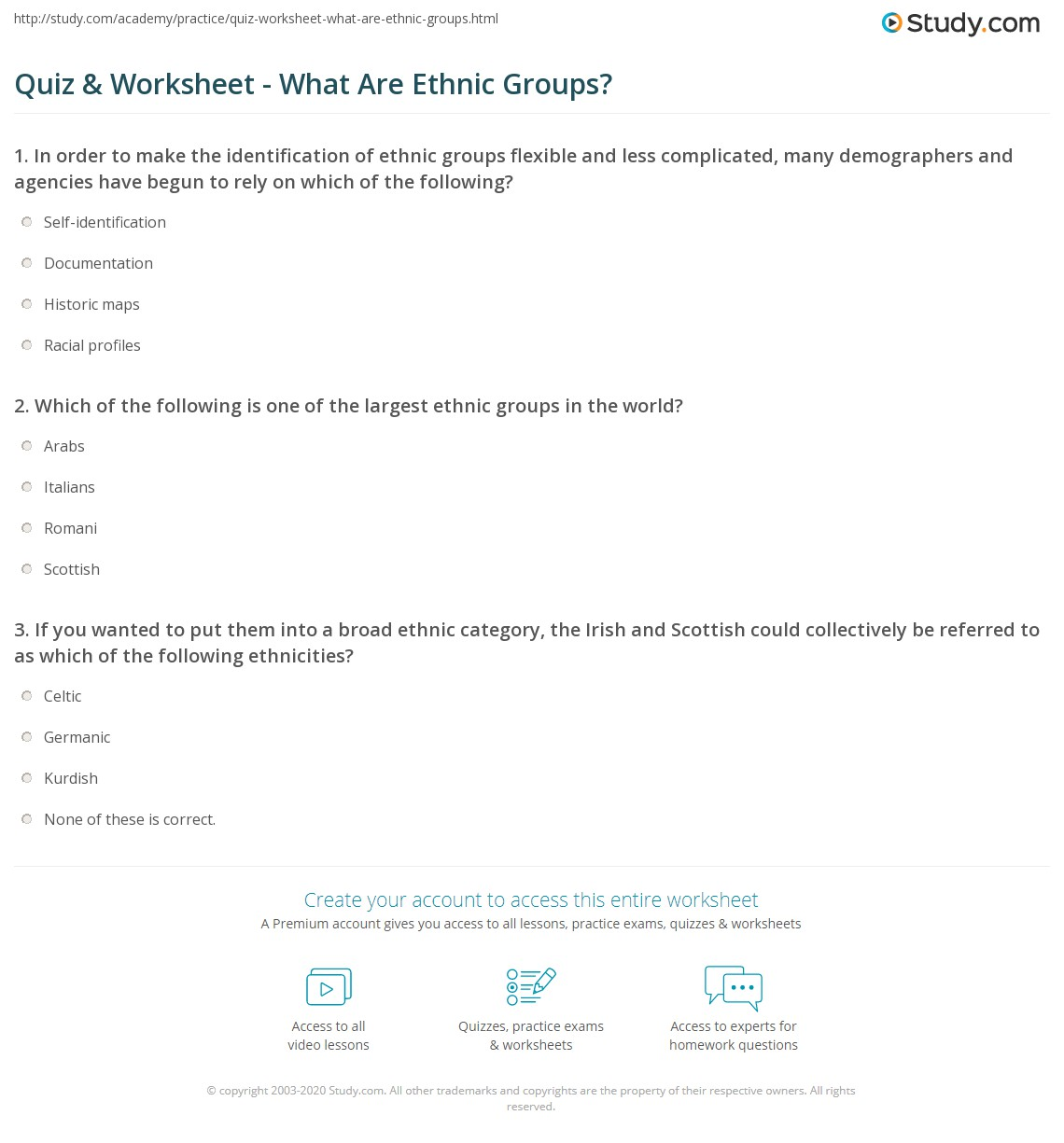 Quiz Worksheet What Are Ethnic Groups Study