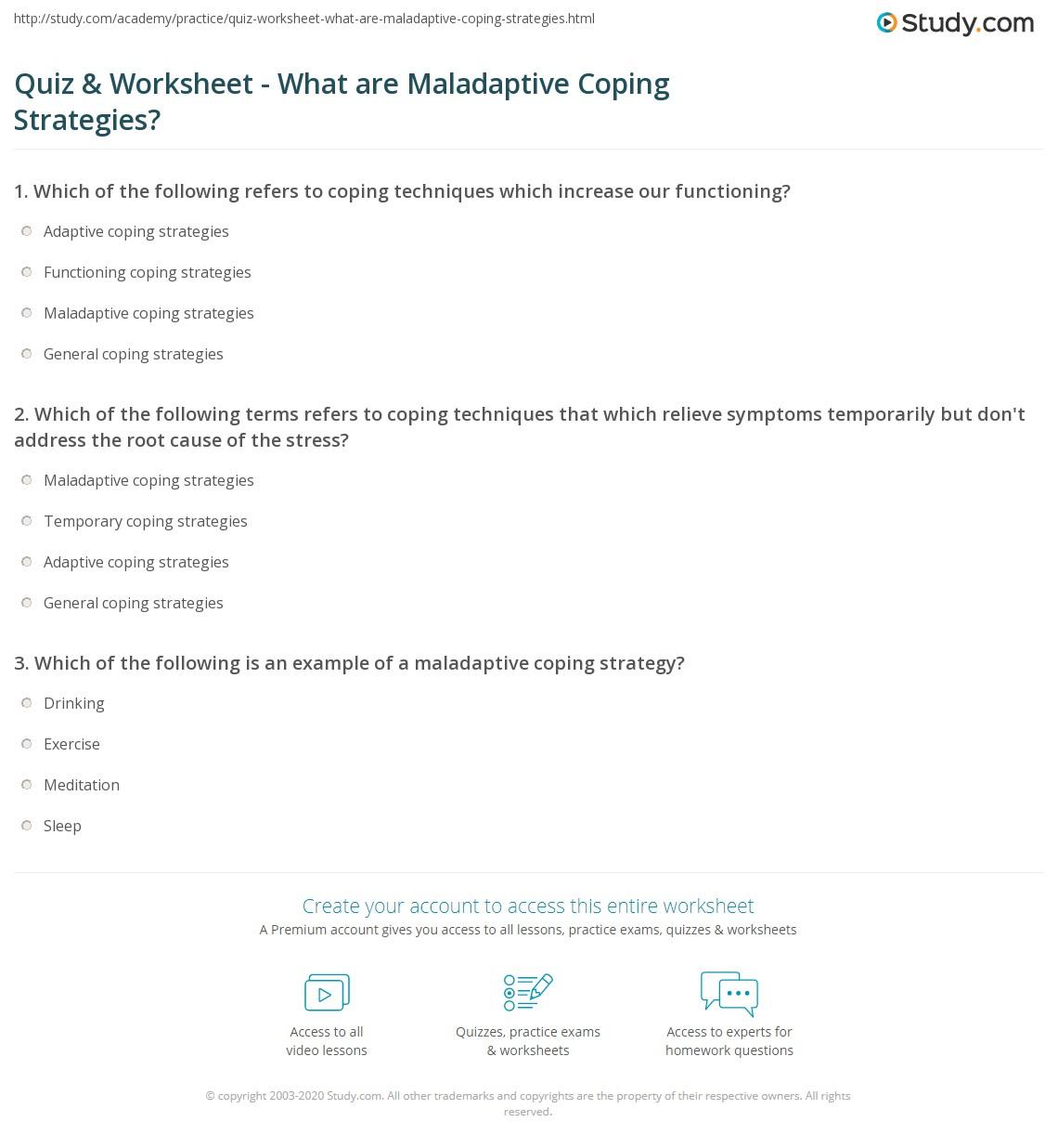 Quiz & Worksheet - What are Maladaptive Coping Strategies? | Study.com