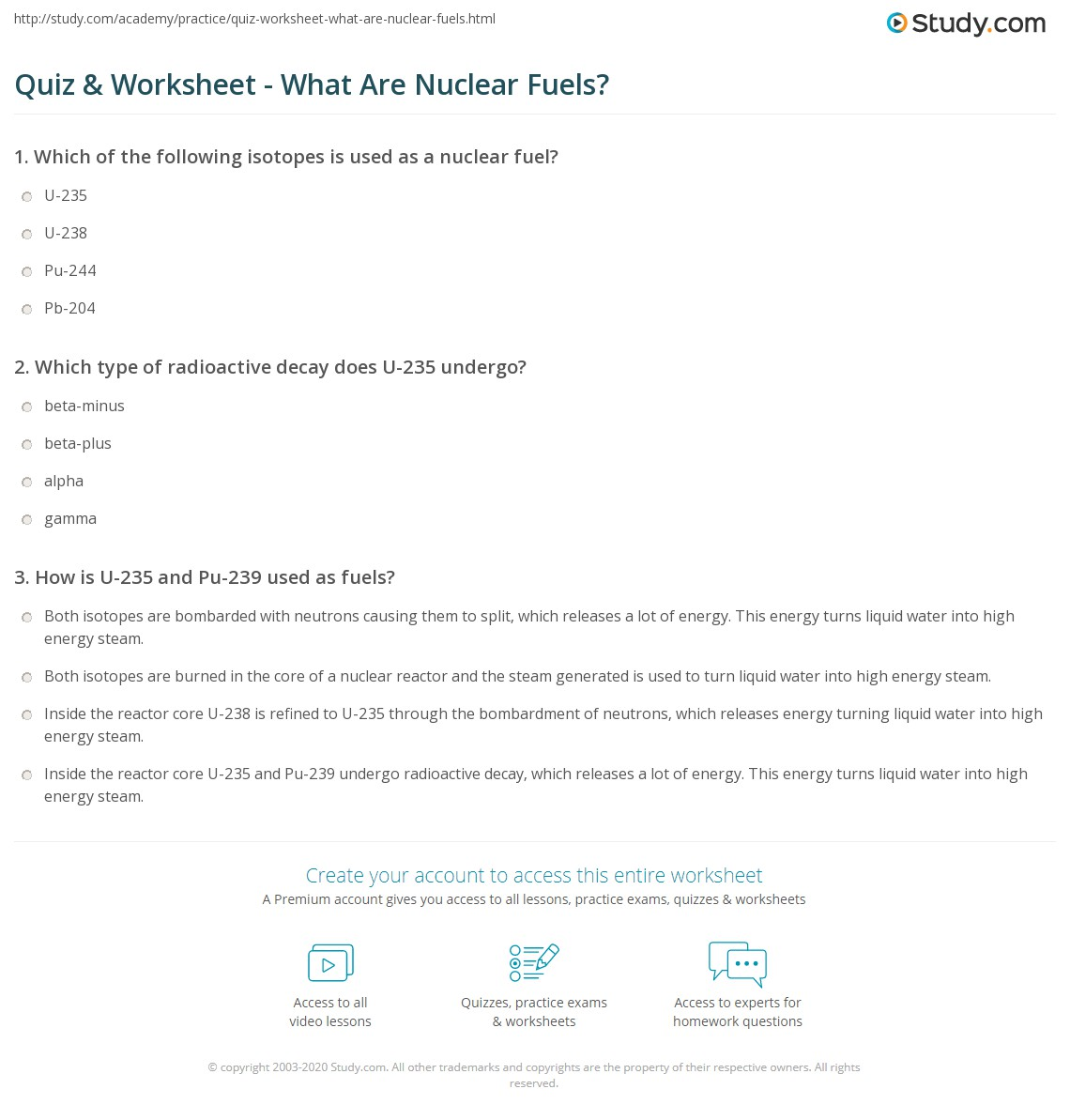 Quiz & Worksheet - What Are Nuclear Fuels?   Study.com