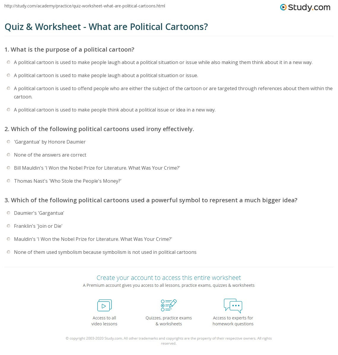 Quiz Worksheet What Are Political Cartoons Study Com