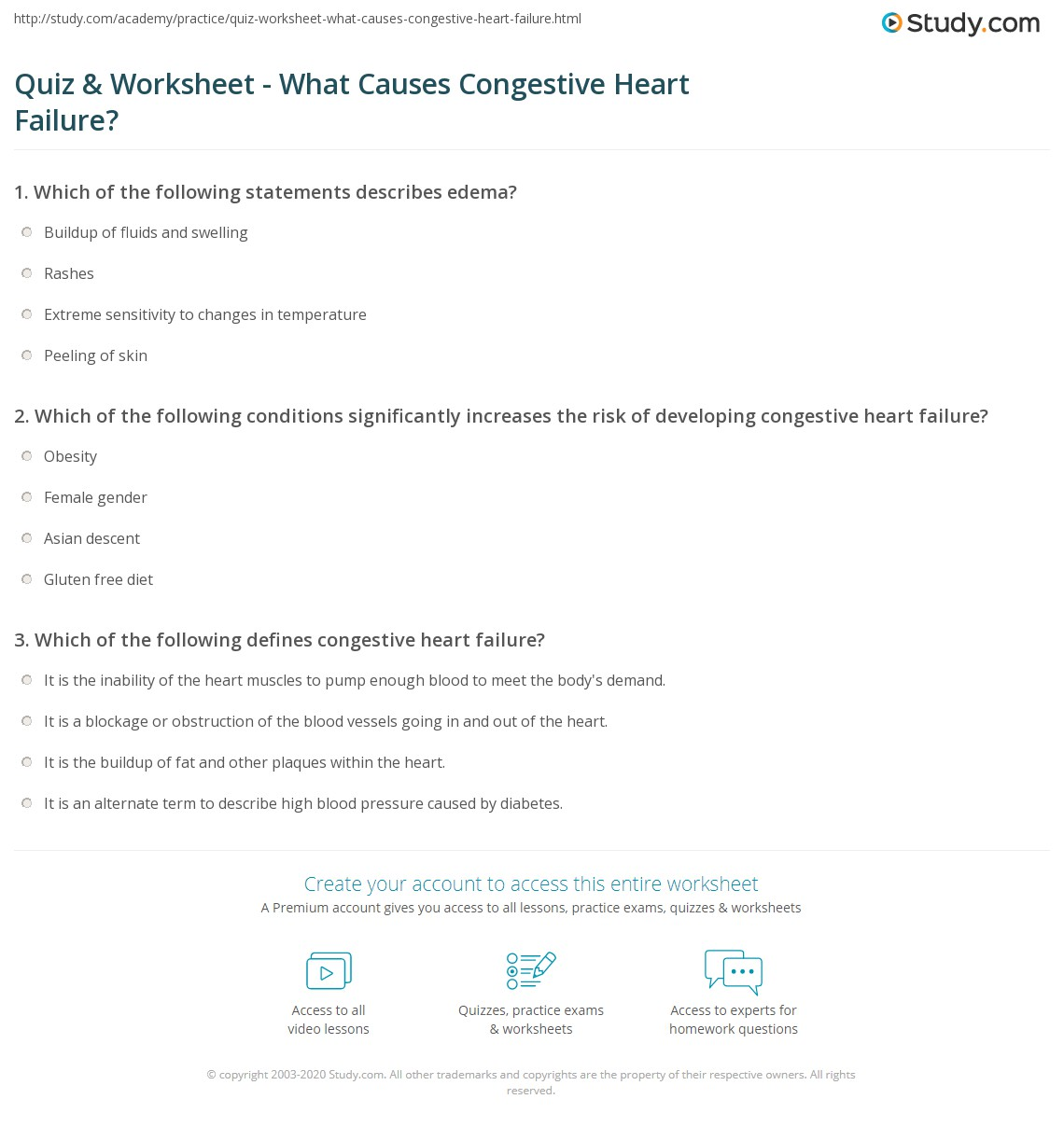 quiz & worksheet - what causes congestive heart failure? | study