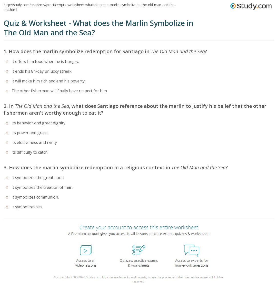 Quiz worksheet what does the marlin symbolize in the old man and print symbolism of the marlin in the old man and the sea worksheet buycottarizona Gallery