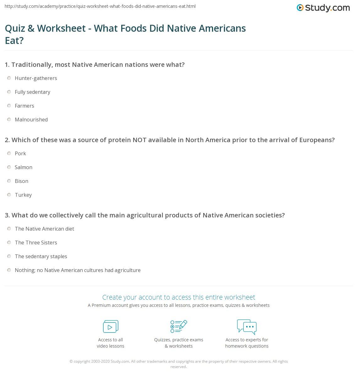 Quiz Worksheet What Foods Did Native Americans Eat – Native American Worksheet