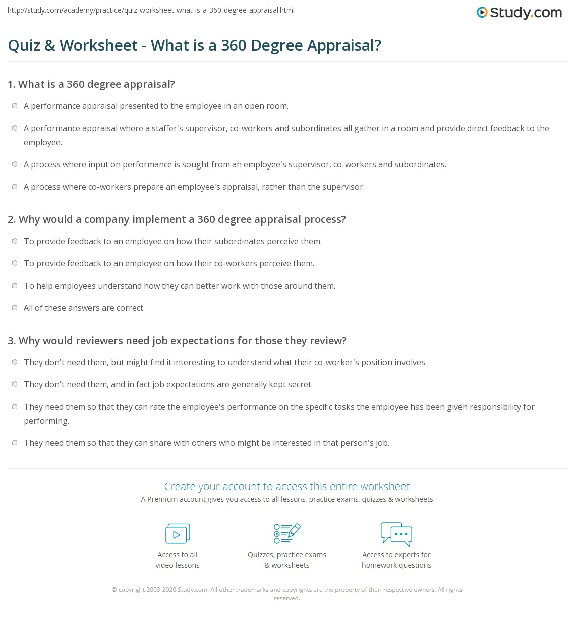Quiz Worksheet What Is A 360 Degree Appraisal Study