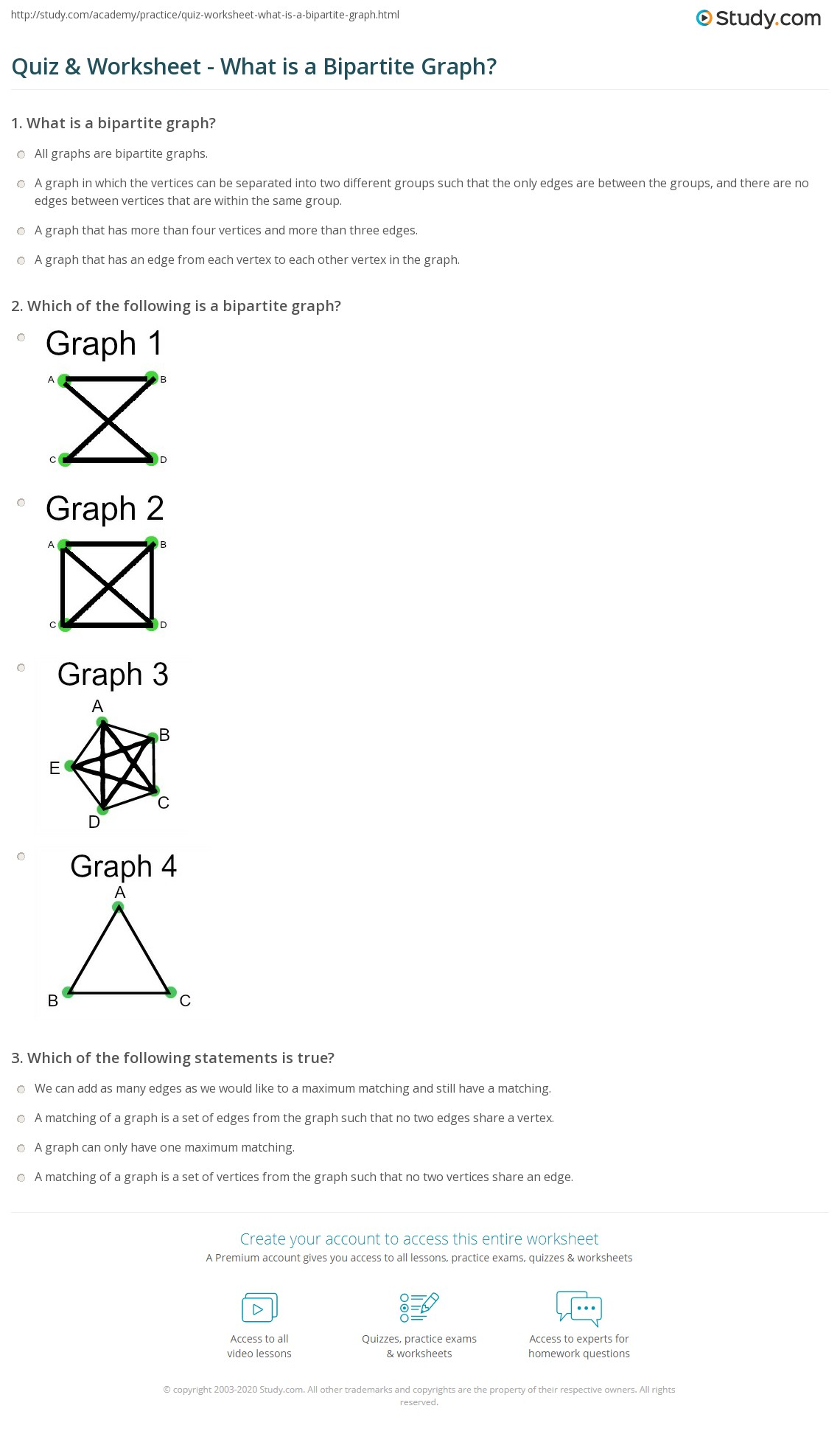 worksheet Vertex Edge Graph Worksheet quiz worksheet what is a bipartite graph study com print definition applications examples worksheet