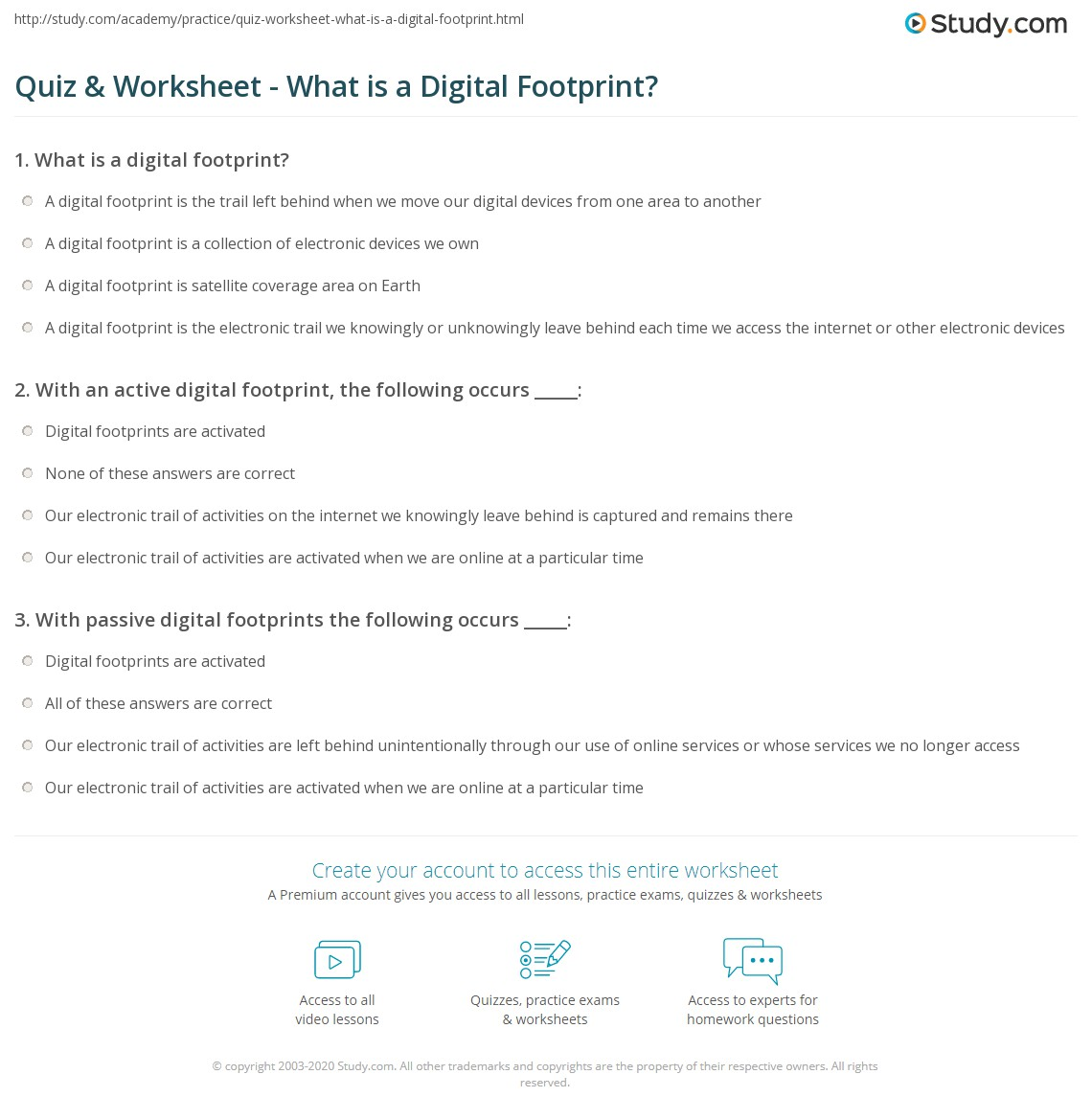 Quiz Worksheet What Is A Digital Footprint Study