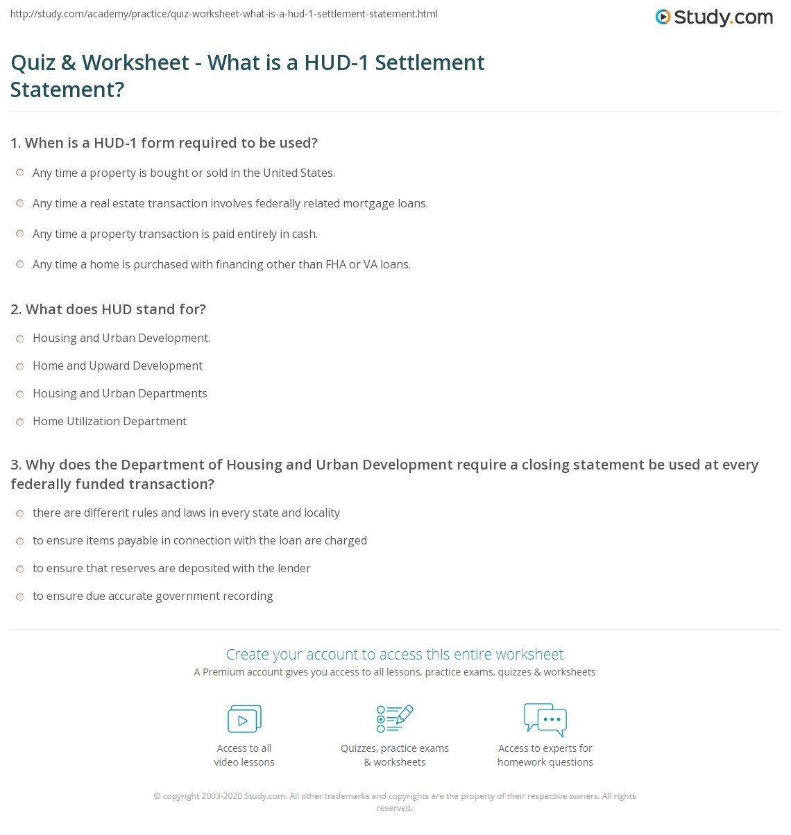 worksheet Hud Worksheet quiz worksheet what is a hud 1 settlement statement study com print definition importance worksheet