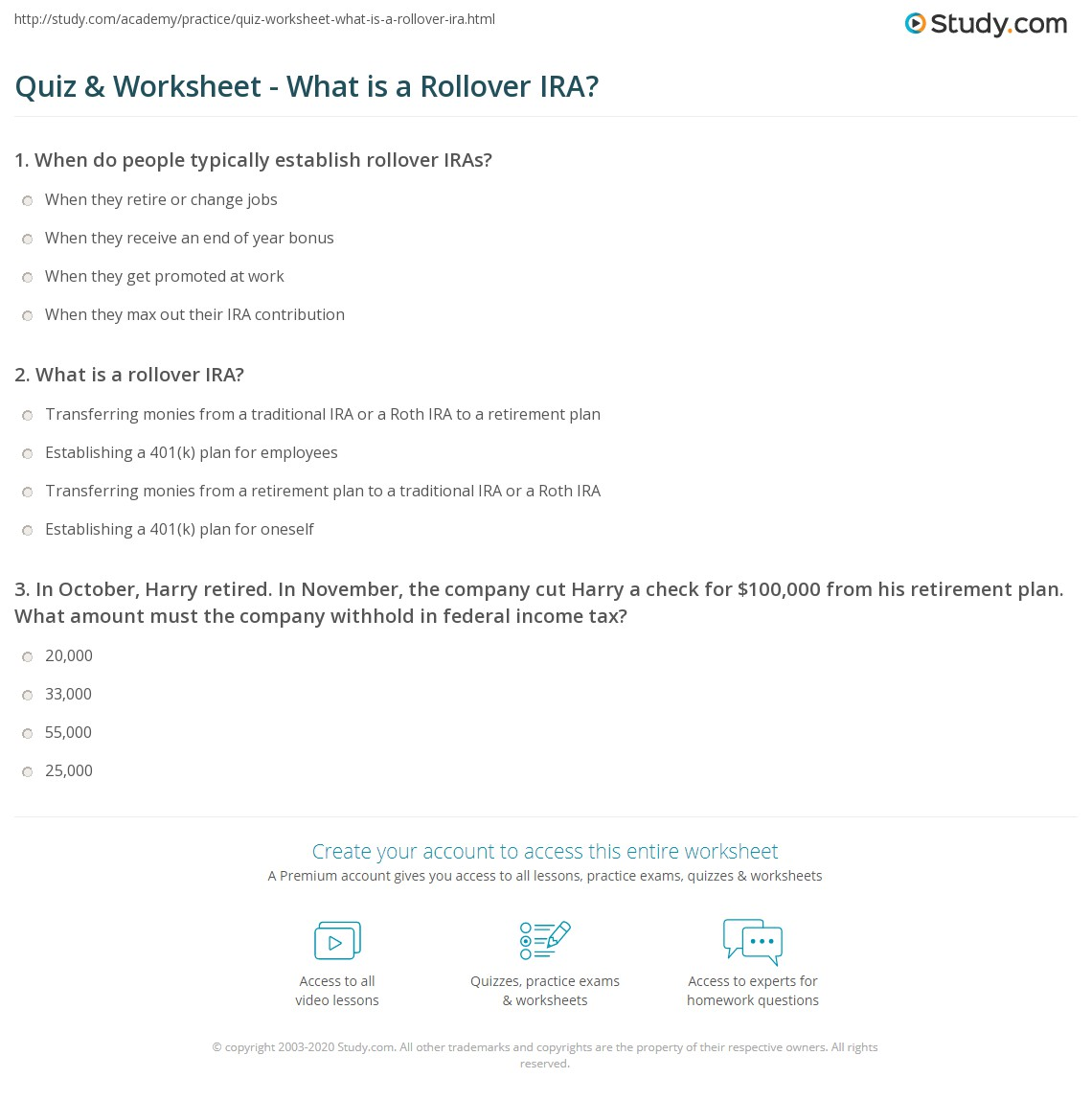 Quiz Worksheet What Is A Rollover Ira Study