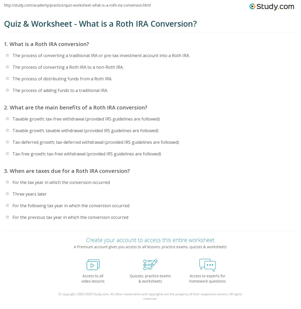 quiz & worksheet - what is a roth ira conversion? | study
