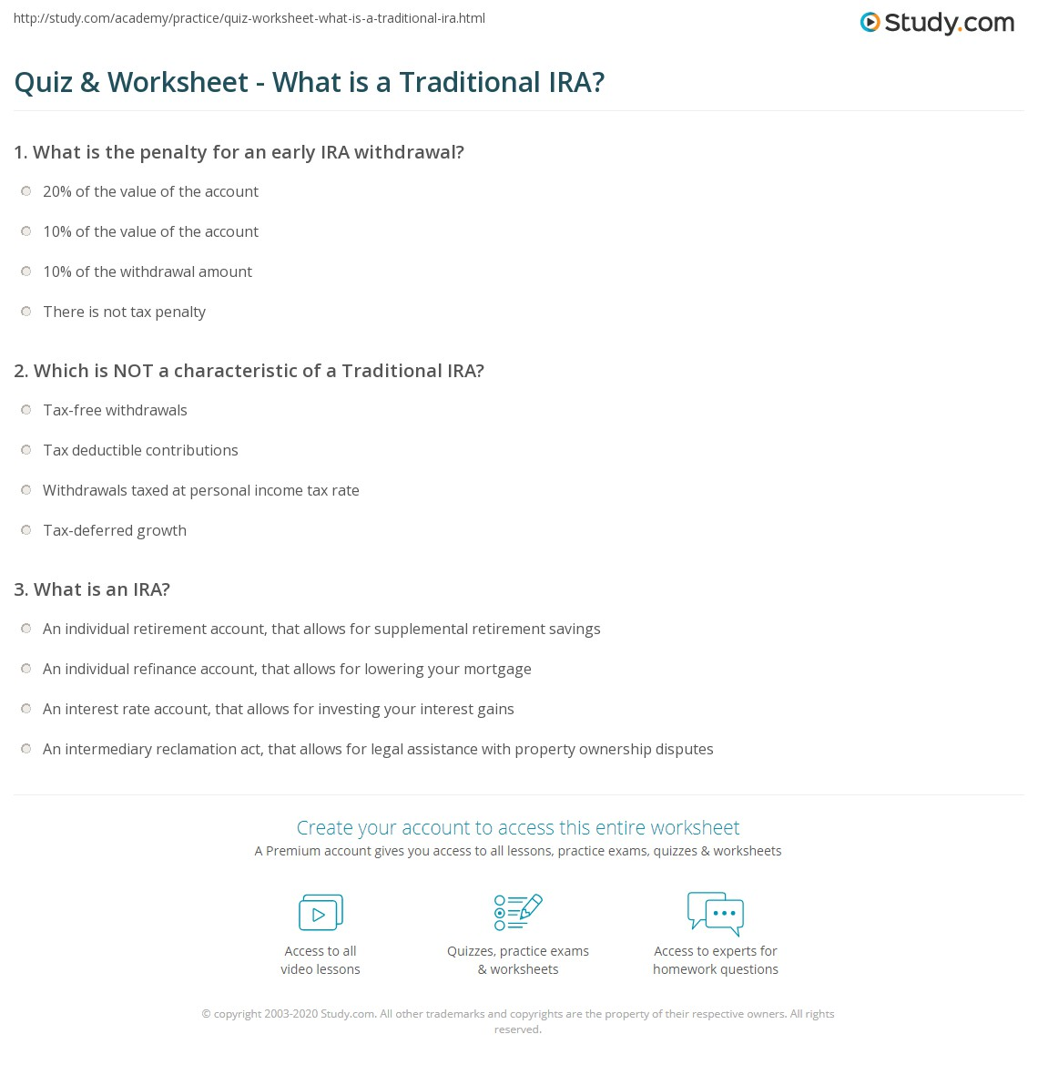quiz & worksheet - what is a traditional ira? | study