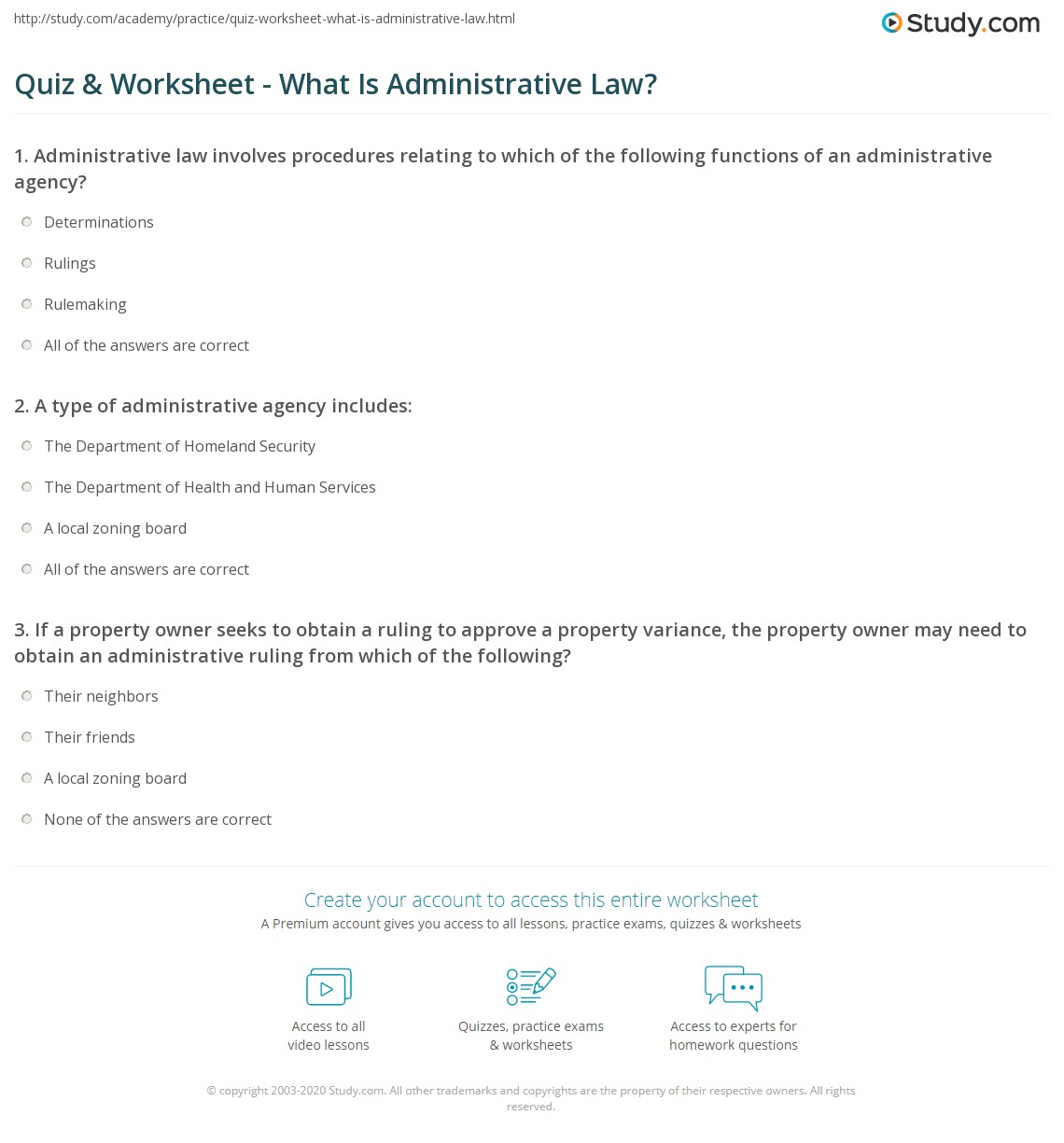 Administrative Law: Quiz & Worksheet - What Is Administrative Law?