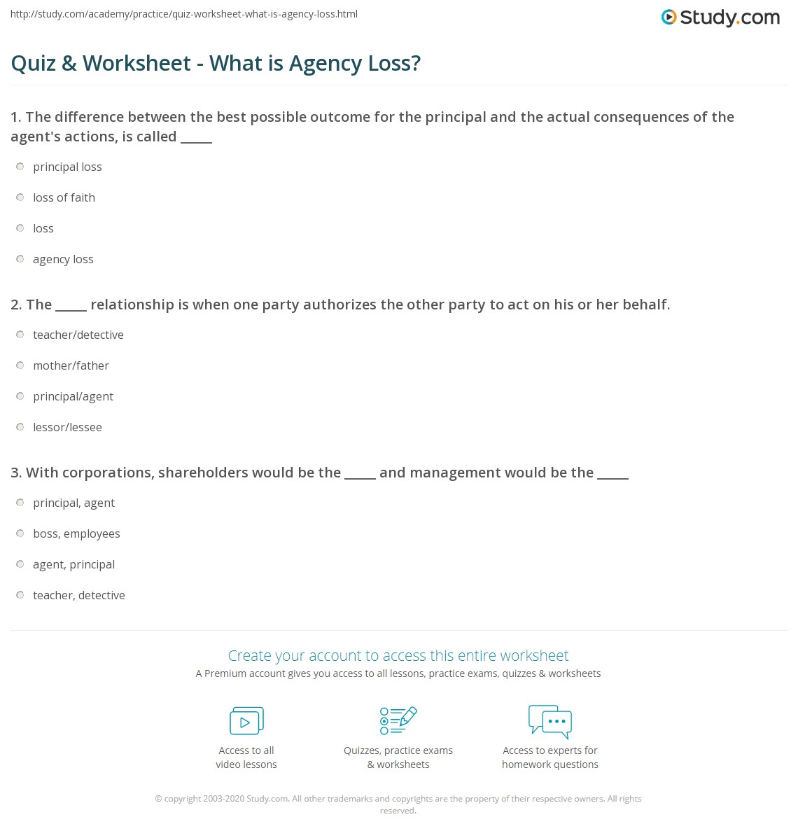 quiz worksheet what is agency loss study com